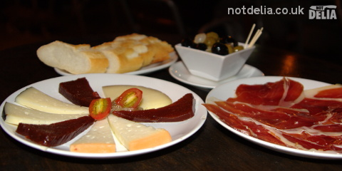 Plates of cold tapas from the Tapas Café, Bangkok
